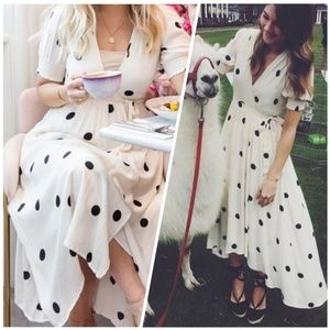 Anthro Maeve Breanna wrap polka dot dress